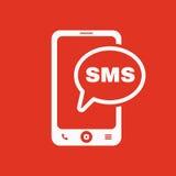 Smssymbolen Smartphone och telefon, kommunikation, meddelandesymbol plant royaltyfri illustrationer