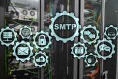 Smtp - protocole de transfert de courrier de serveur Protocole d'IP de TCP envoyant et recevant l'email Simple Mail Transfer Prot photo stock