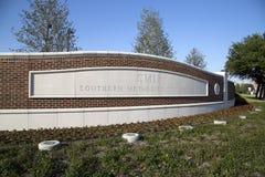 SMU签到城市达拉斯TX 免版税库存图片
