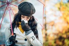 Smucenia zimno na jesieni i grypa Obraz Royalty Free