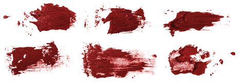 Smudge red oil paint on white. Set. Smudge red oil paint on white background. Set stock photography