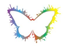 Smudge splash rainbow grunge butterfly icon isolated. Colorful fly animal silhouette Stock Image