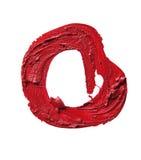 Smudged красная форма конспекта губной помады на белой предпосылке Стоковое Изображение