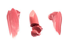 Smudged lipgloss or lipstick samples Stock Images