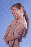 Smudged little painter. Smiling. Isolated Stock Photography
