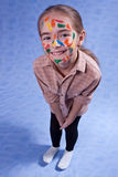 Smudged little painter. Smiling. Isolated Royalty Free Stock Photo