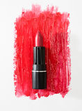 Smudged red lipstick isolated on white background Royalty Free Stock Images