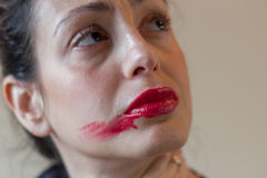 Smudged red lipstick Stock Photo