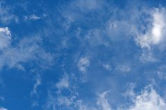 SMUDGES OF WHITE CLOUD IN BLUE SKY. Broken white clouds against blue sky Stock Photos