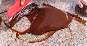 Smudging melted chocolate Stock Photos