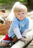 Smudgy baby boy in camp Stock Photo