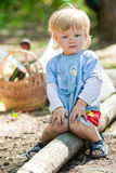Smudgy baby boy sit Royalty Free Stock Images