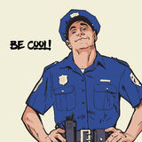 Smug policeman stands upright. Blue uniform Royalty Free Stock Photo