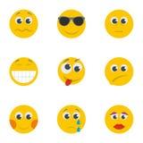 Smug smile icons set, cartoon style. Smug smile icons set. Cartoon set of 9 smug smile vector icons for web isolated on white background Royalty Free Stock Photography