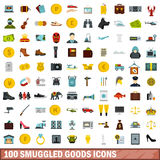 100 smuggled goods icons set, flat style Royalty Free Stock Images