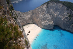 Smugglers Cove Zante. Shipwreck of a smugglers boat, only accessible by boat, popular daytrip stop Royalty Free Stock Images