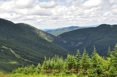 Smugglers Notch. View from Mt. Mansfield to Smugglers Notch, VT Stock Photo