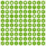 100 smuggling goods icons hexagon green. 100 smuggling goods icons set in green hexagon isolated vector illustration Stock Images