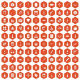 100 smuggling goods icons hexagon orange Royalty Free Stock Photos