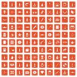 100 smuggling goods icons set grunge orange. 100 smuggling goods icons set in grunge style orange color isolated on white background vector illustration Royalty Free Stock Images