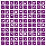 100 smuggling goods icons set grunge purple. 100 smuggling goods icons set in grunge style purple color isolated on white background vector illustration Royalty Free Illustration