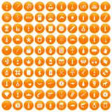100 smuggling goods icons set orange. 100 smuggling goods icons set in orange circle isolated vector illustration Royalty Free Stock Photos