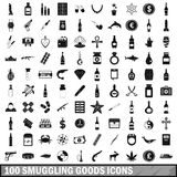 100 smuggling goods icons set, simple style. 100 smuggling goods icons set in simple style for any design vector illustration Royalty Free Stock Photo
