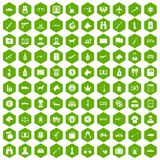 100 smuggling icons hexagon green. 100 smuggling  icons set in green hexagon isolated vector illustration Stock Photo