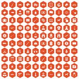 100 smuggling icons hexagon orange Royalty Free Stock Photography