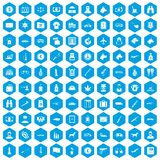 100 smuggling icons set blue. 100 smuggling icons set in blue hexagon isolated vector illustration stock illustration