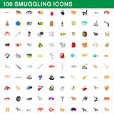 100 smuggling icons set, cartoon style. 100 smuggling icons set in cartoon style for any design illustration vector illustration