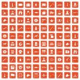 100 smuggling icons set grunge orange. 100 smuggling  icons set in grunge style orange color isolated on white background vector illustration Royalty Free Stock Image