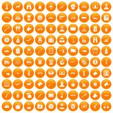 100 smuggling icons set orange. 100 smuggling  icons set in orange circle isolated vector illustration Stock Photography
