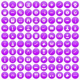 100 smuggling icons set purple. 100 smuggling  icons set in purple circle isolated vector illustration Royalty Free Stock Photography