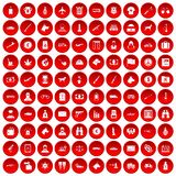 100 smuggling icons set red. 100 smuggling icons set in red circle isolated on white vectr illustration Vector Illustration