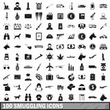 100 smuggling icons set, simple style. 100 smuggling icons set in simple style for any design vector illustration royalty free illustration