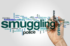 Smuggling word cloud. Concept on grey background Royalty Free Stock Images