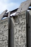 Smula betongväggen figurerar bakgrund Arkivbilder