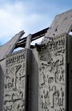 Smula betongväggen figurerar bakgrundsbyggnad Royaltyfri Foto