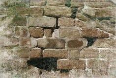 Smula tegelstenväggen med grungeeffekt royaltyfria foton