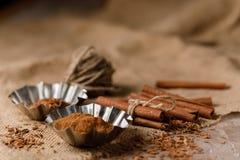 Smulad kanel i plåtar och kanelbruna pinnar på textilen under säckväven royaltyfri bild
