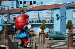 Smurf镇, Juzcar在朗达,西班牙 库存图片