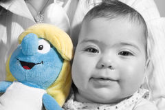 Smurfin and a baby Royalty Free Stock Photo
