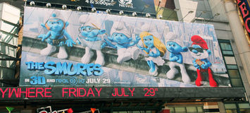 The smurfs. Movie poster of the smurfs on 42nd Royalty Free Stock Images