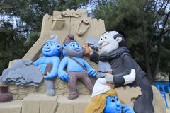The smurfs sand sculpture Stock Photos