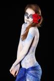 Smutna żywy trup dziewczyna z malującą twarzą i ciało fotografia royalty free