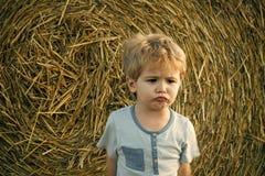 Smutna chłopiec przy siano belą, lato Zdjęcie Royalty Free