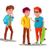 Smutna chłopiec Samotnie Wśród przyjaciół nastolatkowie Wektorowi button ręce s push odizolowana początku ilustracyjna kobieta ilustracja wektor