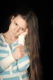 smutna dziewczyna brunetki zdjęcie royalty free