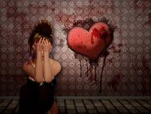 Smutna dziewczyna w krwistym pokoju royalty ilustracja